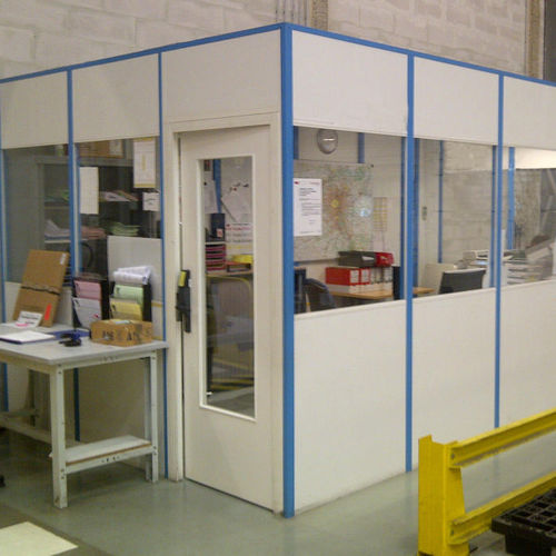 removable partition / modular / wooden / glazed
