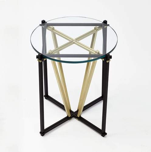 contemporary side table / tempered glass / steel / round