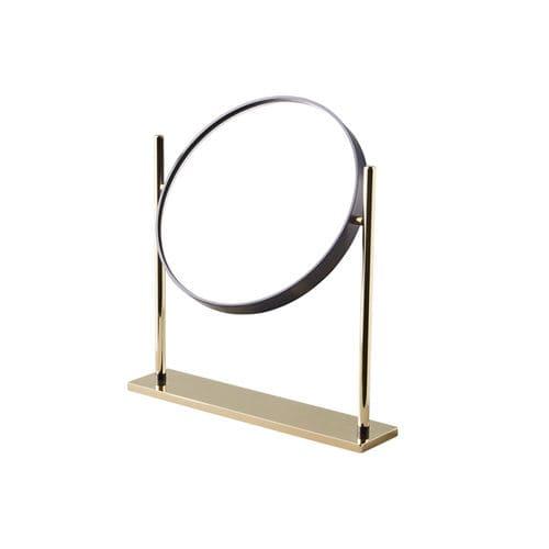 table mirror / contemporary / round / brass