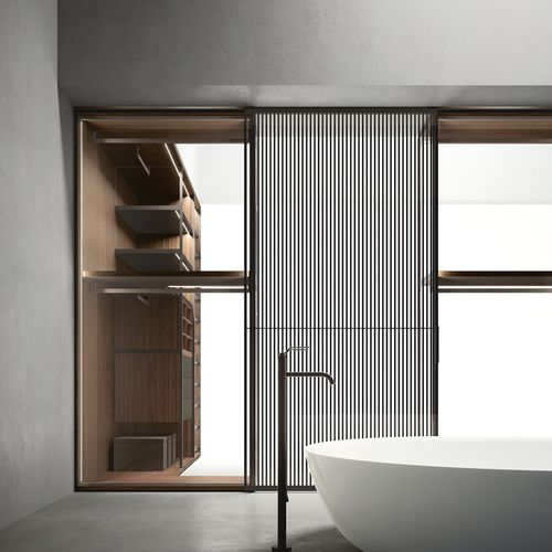 sliding partition / glazed / metal / home