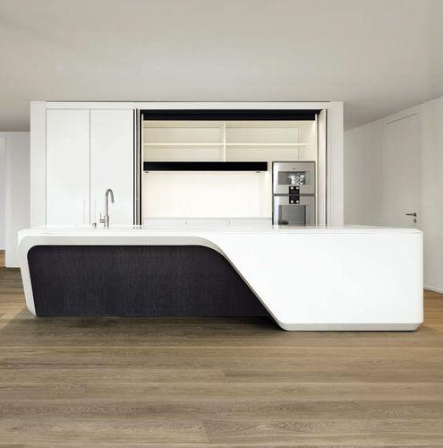 contemporary kitchen / wooden / Corian® / island