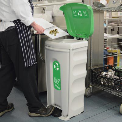 container trash can / recycled plastic / recycling / commercial