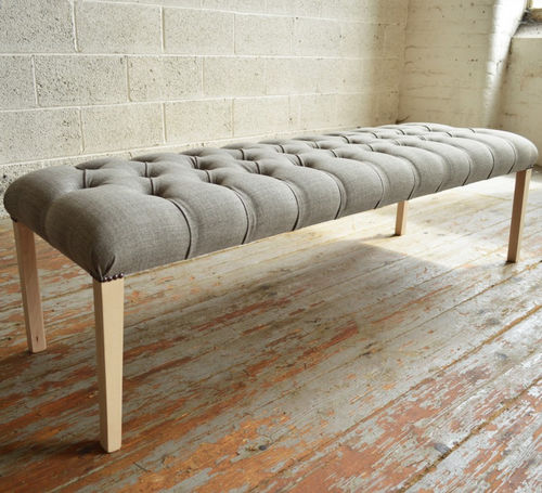 classic bench / wooden / fabric / upholstered