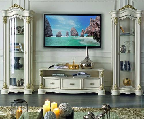 classic TV wall unit / solid wood / glass