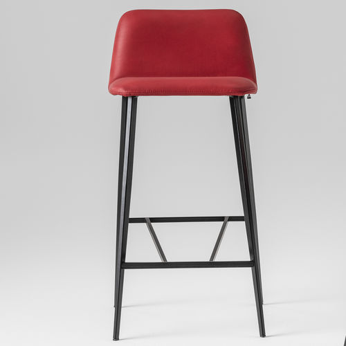Scandinavian design bar stool / leather / metal / velvet