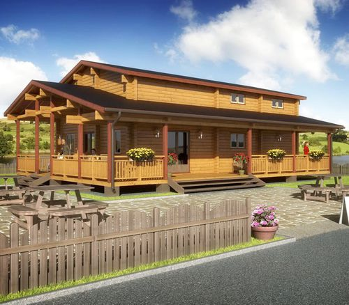 prefab building / solid wood / for sports facilities / for restaurants