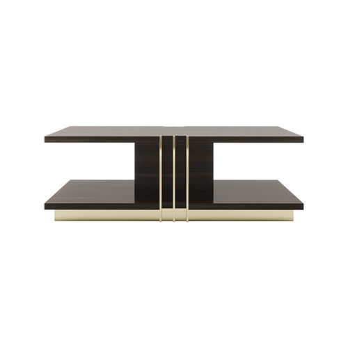 contemporary coffee table / eucalyptus / stainless steel / rectangular