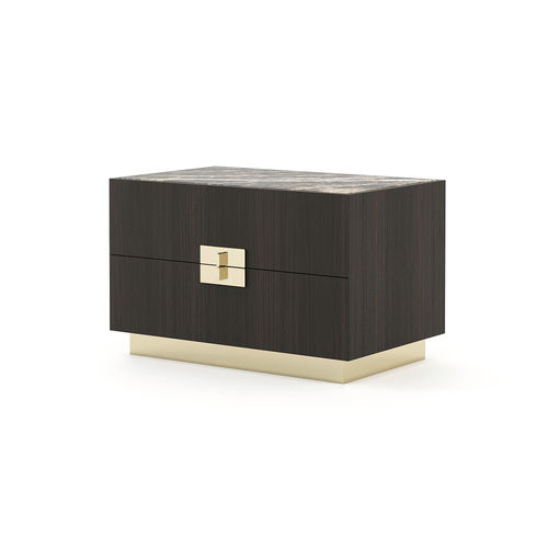 contemporary bedside table / wooden / wrought iron / marble
