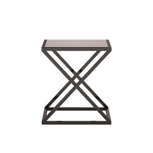 contemporary side table / walnut / iron / square