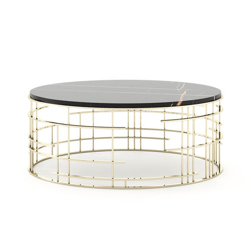 contemporary coffee table / wooden / stainless steel base / round