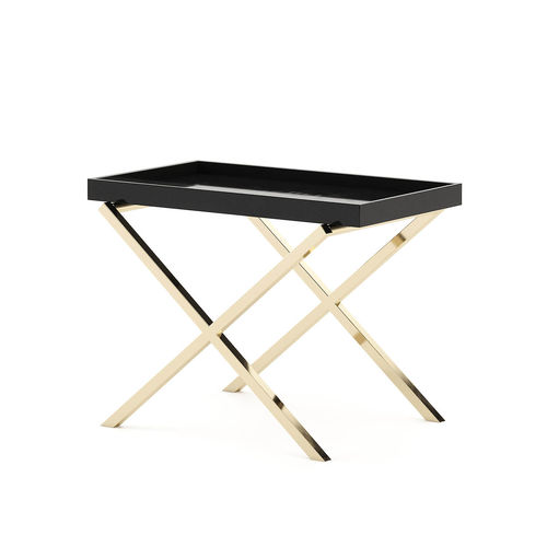 contemporary side table / oak / lacquered metal base / chromed metal base