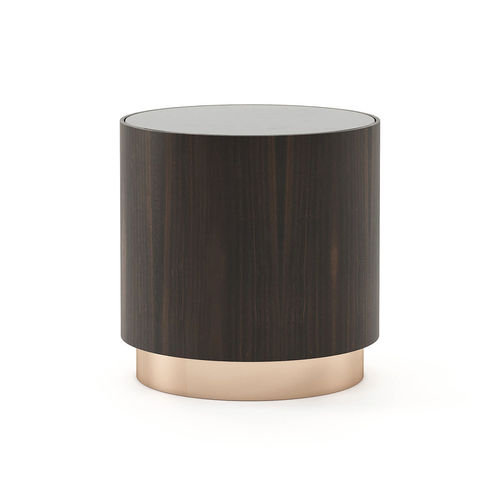 contemporary side table / wooden / glass / lacquered metal base