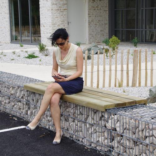 gabion bench / public / garden / contemporary