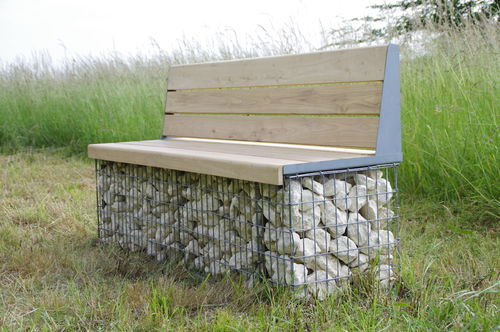 public bench / garden / contemporary / galvanized steel