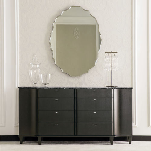 contemporary sideboard / wooden / marble / black