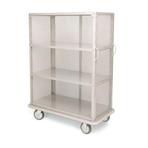 linen trolley / commercial / for hotel / brushed stainless steel
