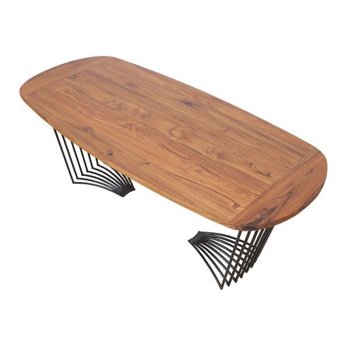 contemporary coffee table / teak / oval / commercial