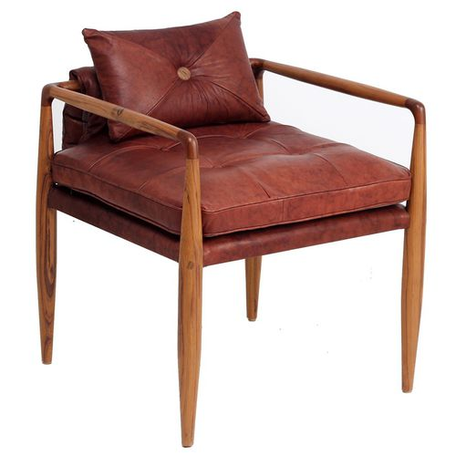 traditional armchair / fabric / leather / solid wood