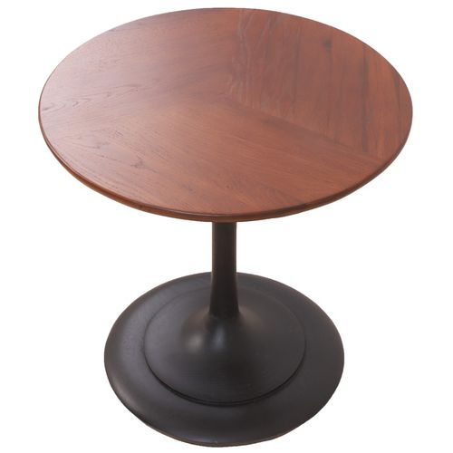 traditional side table / solid wood / round / commercial