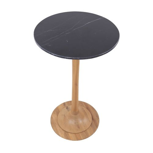 traditional high bar table / solid wood / stone / round