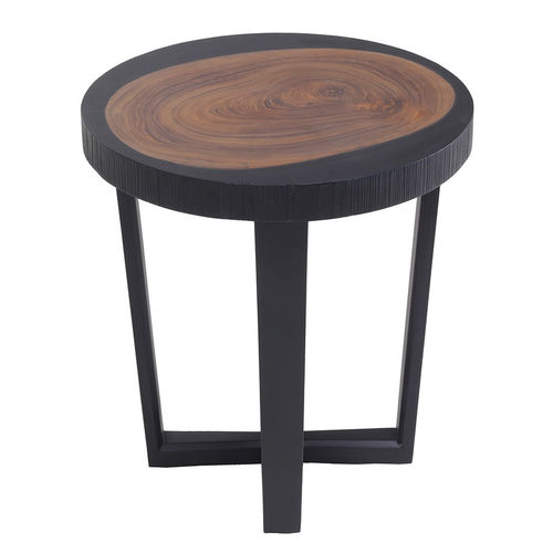 contemporary side table / teak / solid wood / round
