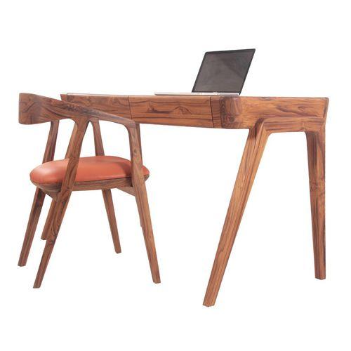 teak desk / contemporary / commercial