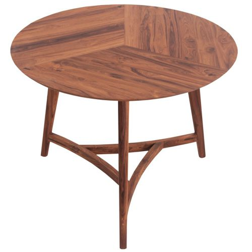 contemporary dining table / teak / round