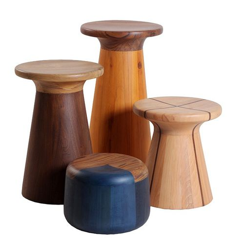 contemporary stool / solid wood / teak / plywood