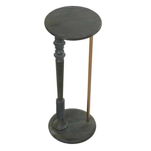traditional side table / teak / metal / round