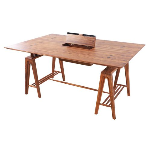 teak desk / contemporary / commercial