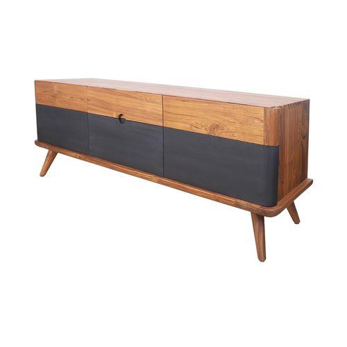 contemporary sideboard / solid wood / teak / black