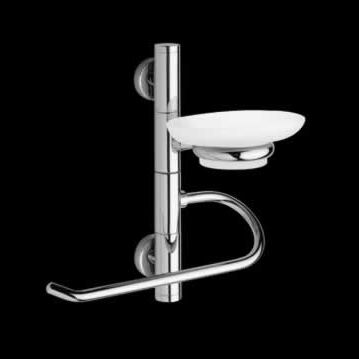 towel ring / wall-mounted / chromed metal / with soap dish