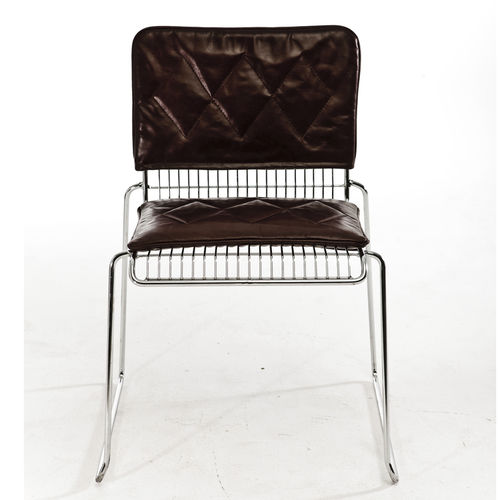 contemporary chair / upholstered / sled base / leather