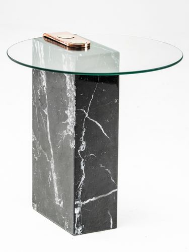 contemporary side table / glass / marble / brass