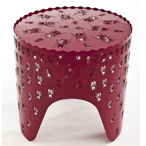 contemporary side table / powder-coated steel / round / contract