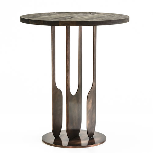 contemporary side table / oak / copper / round