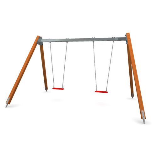wooden swing / galvanized steel / playground / double