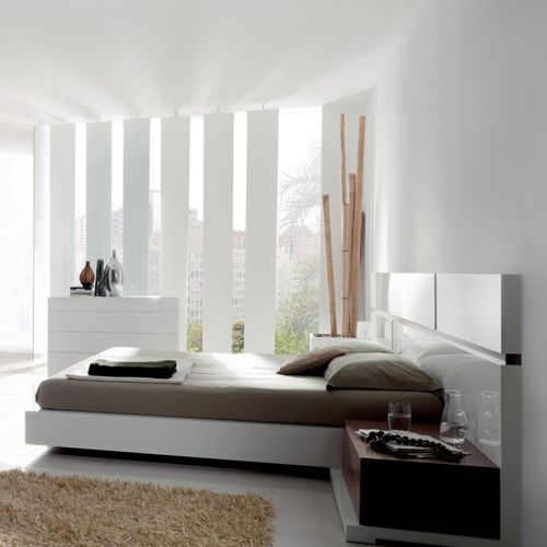 double bed / contemporary / with headboard / walnut