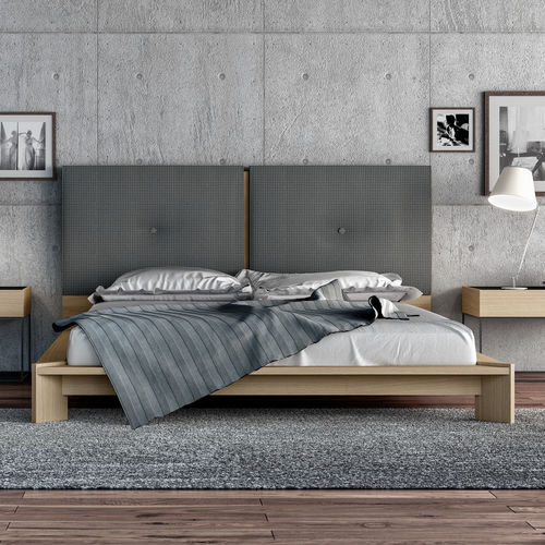 double bed / contemporary / with upholstered headboard / oak