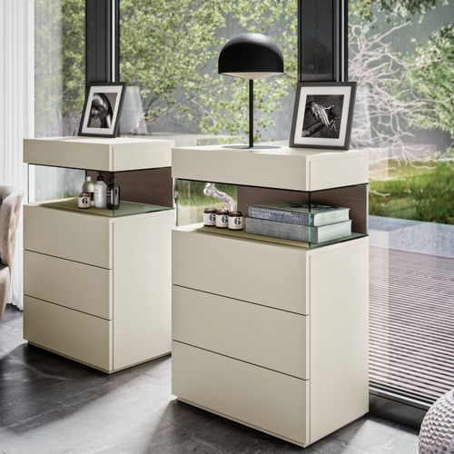 contemporary chiffonier / lacquered wood / white