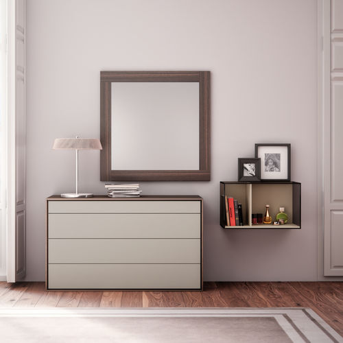 wall-mounted mirror / contemporary / square / wooden