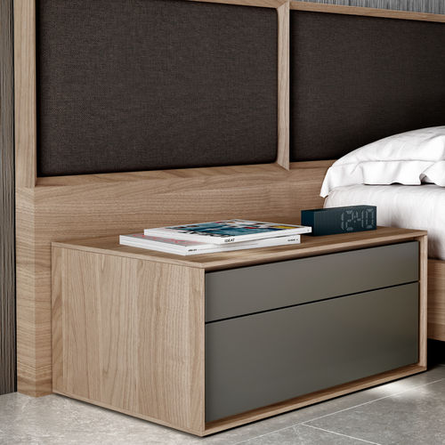 contemporary bedside table / oak / rectangular / with drawer