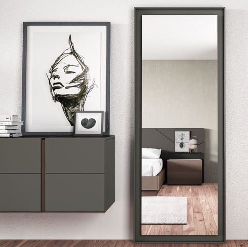 free-standing mirror / contemporary / rectangular / lacquered wood