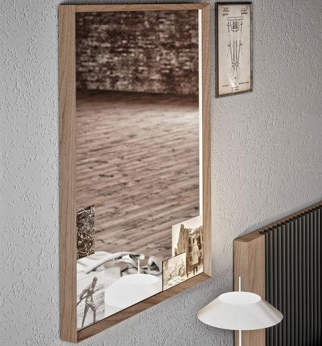 wall-mounted mirror / contemporary / rectangular / walnut