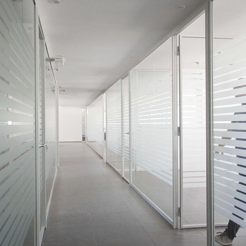 removable partition / sliding / wooden / glazed