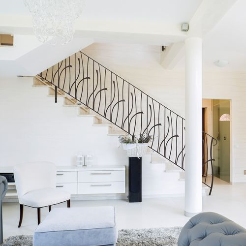 wrought iron railing / with bars / indoor / outdoor