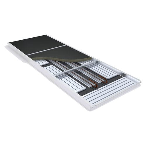 panel suspended ceiling / floating / radiant / with integrated air conditioning