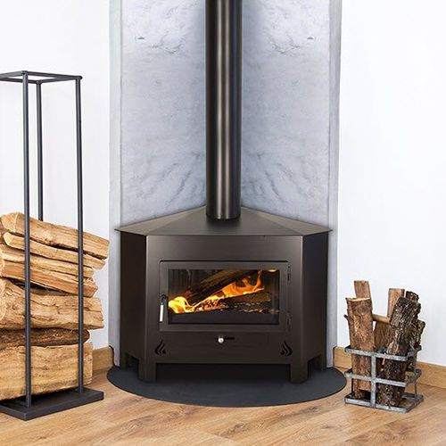 wood heating stove / traditional / corner / steel