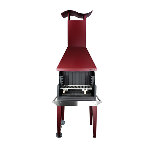 charcoal barbecue / wood-burning / on casters / floor-standing