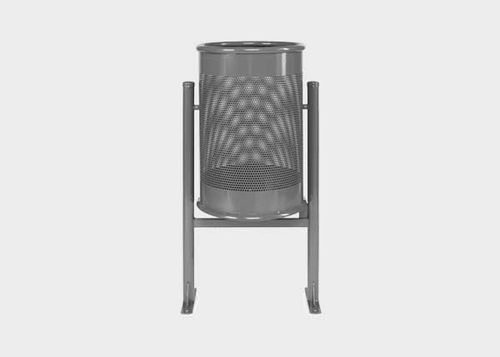 public trash can / steel / stainless steel / contemporary